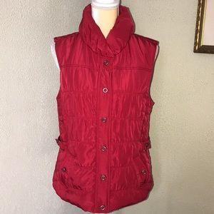 Tribal Lightweight Red Puffer Vest W/Pockets Med
